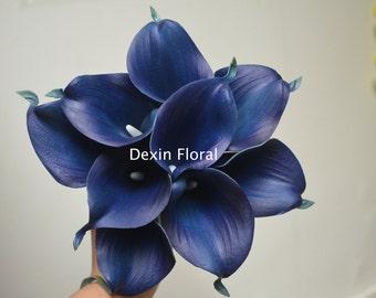 9 stems Navy Blue Calla Lilies Real Touch Flowers DIY Silk Bridal Bouquets Bridesmaids bouquets Wedding Centerpieces, Decorations