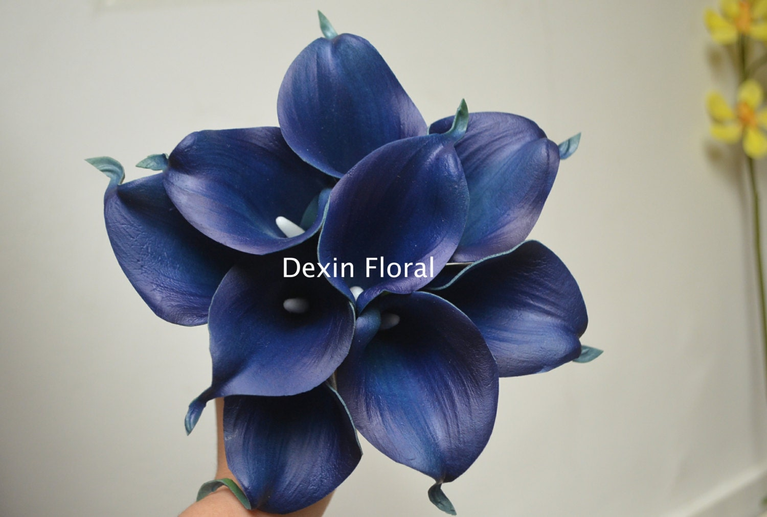 9 Stems Navy Blue Calla Lilies Real Touch Flowers DIY Silk