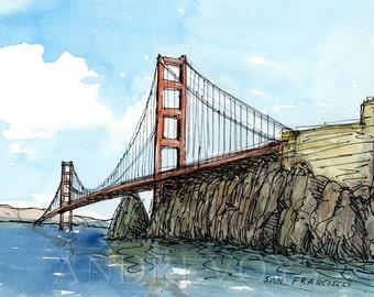 San Francisco Golden Gate Bridge California Watercolor Sketch