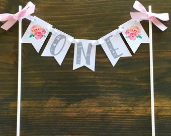 one cake banner, first birthday cake banner, floral cake banner, watercolor flower banner, first birthday cake pendants