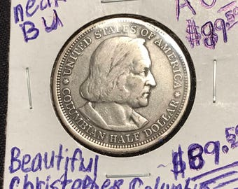 1893 Christopher Columbus Columbian Exposition Silver nearly Perfect BU Beautiful Uncirculated
