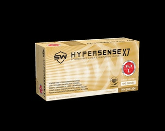 Hypersense® X7 Latex, Powder-Free, Non-Sterile, Disposable LATEX Exam Gloves | Convenient Dispenser Pack of 100