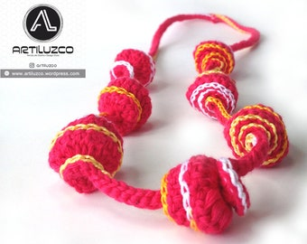 Bordoneo Coral, Crochet necklace, Necklace in natural fibers, Handmade knitted necklace