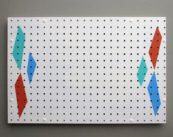 pegboard organizer - Atomic Age – acrylic on pegboard - home décor - wall art -  gift wrapping
