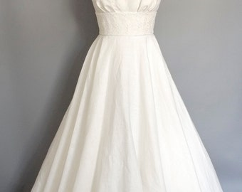 Ivory Linen & Eden Lace Tiffany Full Length Wedding Dress - Made by Dig For Victory