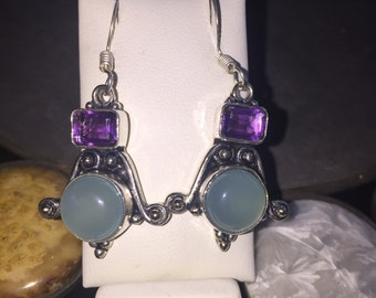 Chalcedony and amethyst earrings