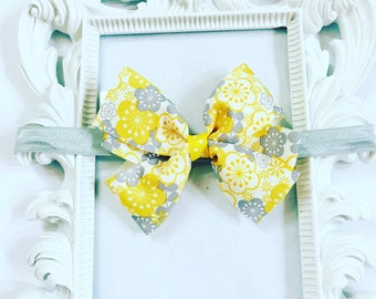 Yellow and Grey Hair Bow/Hairband, Girl's Yellow And Grey Hair Bow, Girls 4 inch Yellow Hairband, Girl's Hair Accessories, Newborn Hairbands