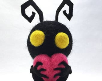 "Heartless. 3.5"" high x 2"" wide, 100% handmade needle felted character."