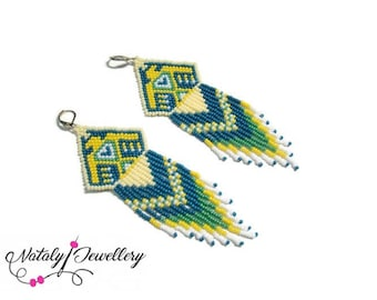 Eagle earrings Native american jewelry Indian earrings Beadwork Seed beaded earrings Boho dangle earrings Ethnic tribal bohemian jewelry