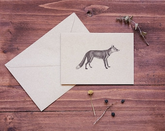 Red fox card, holiday card, personalized thank you card