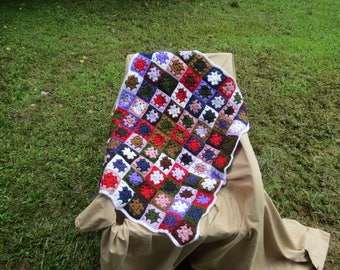 Random Color Granny Square Blanket