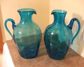 Pair of Vintage 1960s Mid-Century Modern Blenko Turquoise #6415 Optic Swirl Jugs by Joel Myers