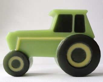 Green Tractor - Glycerin Soap - red apple Scented - Christmas - Farmer - Gift for Him - Novelty - Teen - Boy - shaped soap - Dad - Fun