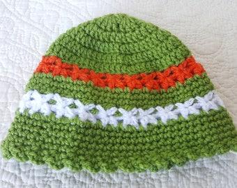 Crochet newborn  spring hat, Newborn beanie in Irish flag colors, White, green, orange colors hat, Baby hat, Baby cap, Toddler crochet hat