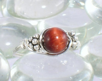 Red Tiger Eye Sterling Silver Bali Bead Ring Any Size