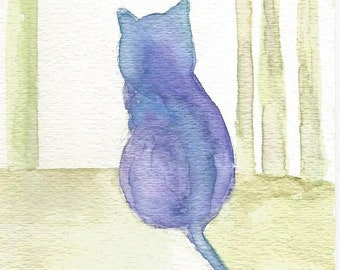 Purple Cat, Outline, Silhouette, Watercolor Painting