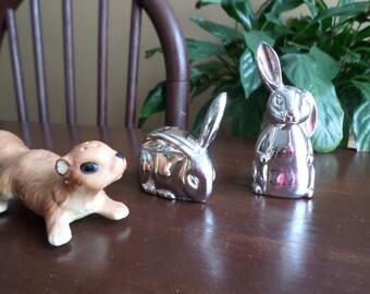 Vintage Godinger Silverplate Bunny Rabbit Salt & Pepper Shakers-Serving/Easter Table/Spring