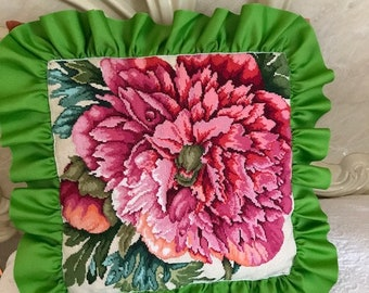 Peony .Pillow set .   Bulgarian cross.
