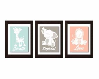 Cute Safari Animal Print, Safary Nursery Decor, Jungle Animal Wall Decor, Jungle Decor, Elephant Decor, Giraffe Decor, Lion Decor