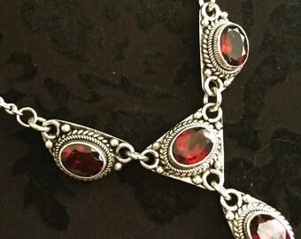 Vintage 925 Sterling Silver Bali Garnet link chain necklace12g 18 inches wedding birthday anniversary