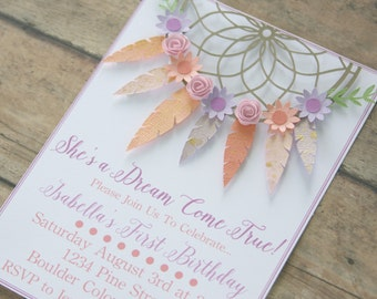 bohemian invitation, bohemian invite, bohemian party, dream catcher, first birthday party, boho invitation, boho party, decor