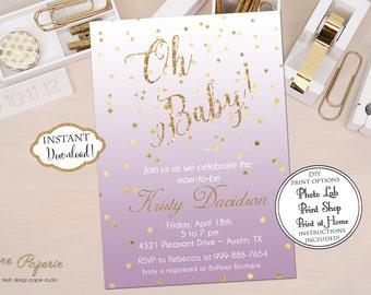 INSTANT DOWNLOAD - Violet Purple Lavender Plum Baby Shower Invitation - Gold Glitter Confetti Invite - Baby Shower - 0144