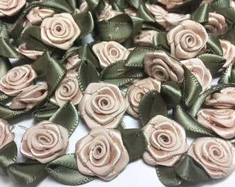 Satin Ribbon Roses with Leaves - Fawn Beige Ribbon Roses - Wedding Supplies - Craft Roses -  Decorative Roses- B 38 -  13 Buttons - 15 Roses