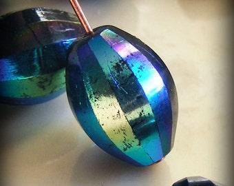 Czech Glass Global Melon Beads 12x9mm Black AB (10 pk) SRB-12x9G-BAB