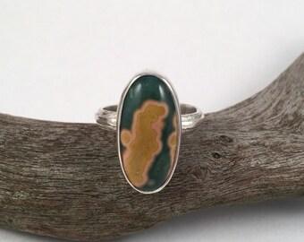 Sterling Silver Ring, Ocean Jasper Ring, Statement Ring, Silver Band Ring, Ocean Jasper Jewelry, Gemstone Ring, Silver Ring