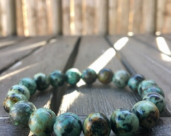 10mm African Turquoise (Jasper) Stretch Bracelet