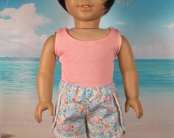 "Girl doll Shorts, Girl doll tank top, Tulip hem shorts, Lace trim, 18"" doll shorts, Doll shirt, Shorts fit like American.Girl doll clothes"