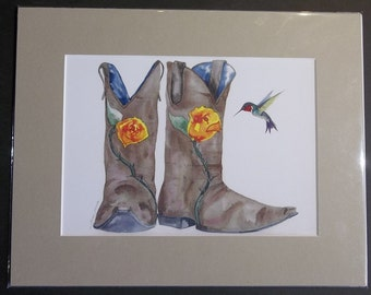 Boots and Humming Bird, 11x14 matted print by June Jurcak