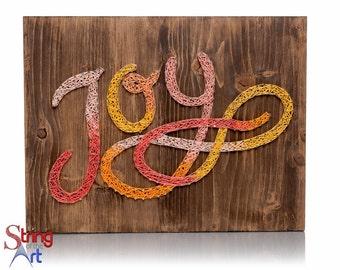 DIY String Art Kit - Joy Sign, Home Decor, DIY Kit, DIY Decor, Wall Decor, Room Decor - String, Nails, Instructions, Stained Wood, Pattern