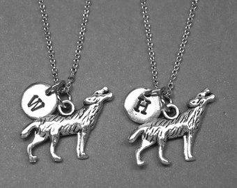 Best friend necklace, wolf necklace, wolf charm, BFF necklace, friendship jewelry, personalized necklace, initial necklace, best friend gift