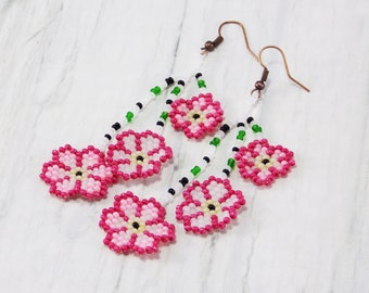 Cherry earrings pink flower jewelry sakura earrings japanese jewelry tree jewelry cherry blossom sakura jewelry art earrings Cherry jewelry