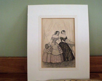 Fashion Print 1860 Ladies, Hand Coloured