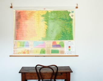 Vintage usa map world map hanging map pull down map united vintage state of kansas map state map hanging map pull down map gumiabroncs Images