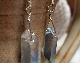 Handmade Earrings - Rough Hewn Faceted Stone - Sterling Silver Earwires