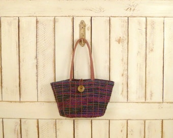 Colorful striped woven straw vintage market bag/straw tote purse/beach bag