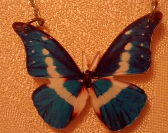 Lazercut Acrylic Blue Butterfly Necklace Gorgeous!