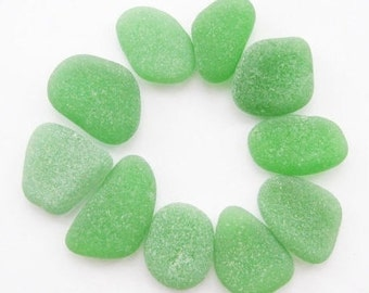Soft green sea glass Pastel green beach glass Pale green sea glass Large sea glass bulk Sea glass for jewelry Sea glass pendant / 10 pcs