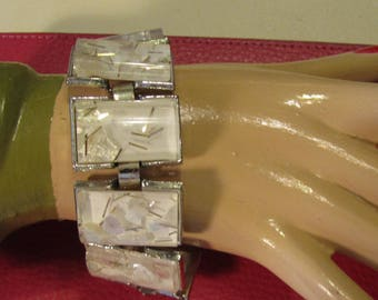 SALE was 65.00 Bracelet Vintage  White &  Silver Tinsel  Mid-Century   Totally Cool