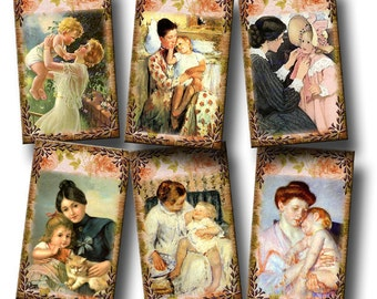 MoTHER and Child - Vintage Art Hang/Gift Tags/cards/labels- INSTaND DOWNLoAD- Printable Collage Sheet JPG Digital File