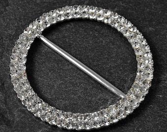 Round Crystal Rhinestone Buckle by pc, TR-11187