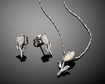 Tulip Necklace and Earring Set for girls - Swarovski White Opal
