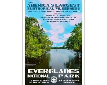 "Everglades National Park WPA style poster. 13"" x 19"" Original artwork, signed by the artist. Free Shipping !"