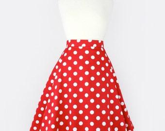 Pinup  Red Polkadots  Full Circle  Skirt