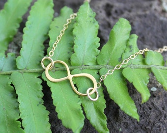Gold Infinity Necklace - 22k gold plated sterling silver infinity sign & 14k gold filled delicate chain- Eternal- Endless- Free USA shipping