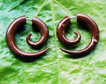 Fake Gauges Coconut Spiral Earrings Small Fake Plugs