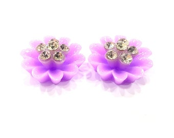 2 Purple Flower Cameo Cabochon 15mm  G12256